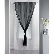 Douceur d'Interieur 140 x 260 cm 100 por ciento poliéster cortina traslúcida con arandelas doble Uni negro/Blanc, negro/blanco