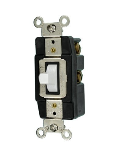 Leviton 1257-W 20-Amp 120/277-Volt Toggle Single-Pole AC Quiet Switch, White by Leviton