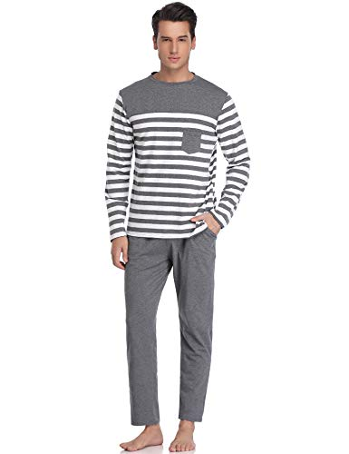 Aibrou Herren Schlafanzug Pyjama Lang Gestreift Winter Baumwolle Nachtwäsche Langarm Rundhals Grau1 XL