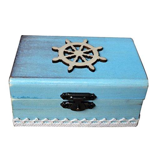 PRETYZOOM Ring Box Holz Steuerrad Ringkissen Maritime Box Vintage Ehering Box Schmuck Aufbewahrungsbox