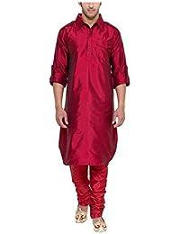 Royal Kurta Men's Silk Blend Pathani Long Kurta