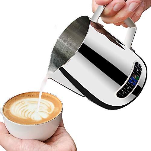 Milchkanne edelstahl klein Mit Temperaturanzeige, Milchkanne 600ml, Milchaufsch?umer für Kaffee, Milchschaum, Barista Aufsch?umk?nnchen, Cafe
