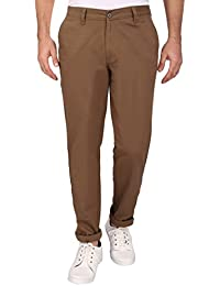 Barata Men's Dobby 100% Cotton Casual Light Brown Trouser Regular Fit, 100% Cotton Trouser For Men