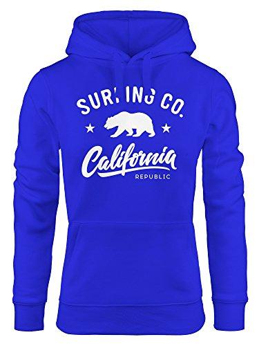 Hoodie Damen California Republic Bear Bär Sommer Surfing Kapuzen-Pullover Neverless® blau L Bär Sweatshirt