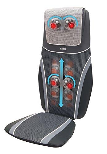 HoMedics SensaTouch BMSC-6000H-EU Massage-/Shiatsu-Stuhlauflage, 3 Programme, mit Infrarotwärme, Grau/Schwarz