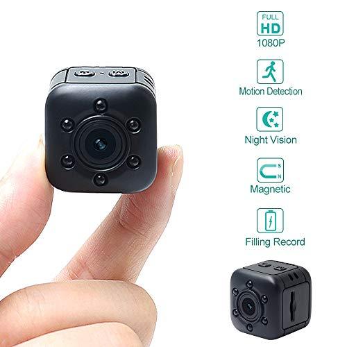 Mini Kamera LXMIMI 1080P HD Tragbare Kleine Überwachungskamera mit Bewegungserkennung und Infrarot Nachtsicht Eingebauter Magnet Mini DVR für Haustier/Baby/Zuhause/Auto/Drohne/Draussen (Babysitter Kamera)