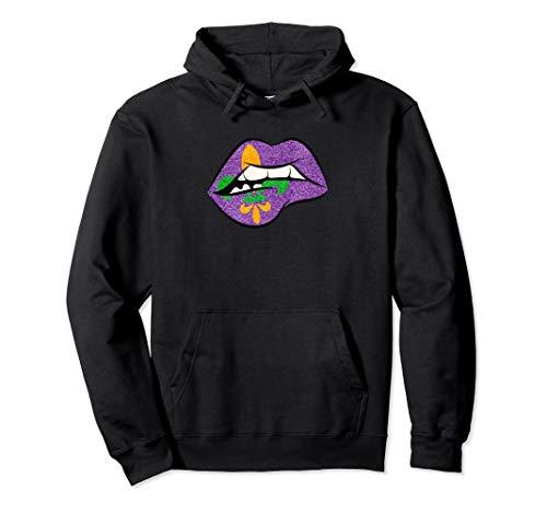 Mardi Gras Lippen Mehl de lis T Shirt für Fat Tuesday Parade Pullover Hoodie