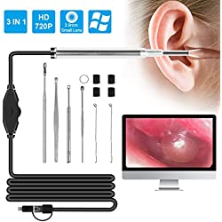 Yudanny Otoscope 720p hd endoscope avec 6 lumières led oreille caméra d'inspection d'otoscope oreille nettoyage outil de cure-oreille visuel avec port micro-usb/type-c/usb