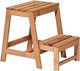 dobar Stabiler Klapphocker aus FSC Holz, 2 Stufen Tritthocker klappbar, 53/39 x 38 x 45 cm, buche massiv, 29730FSC