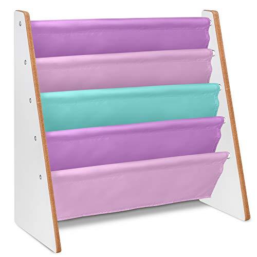 LIVIVO Kinder Bunte Sling Storage Bücherregal–Easy Zugang Holz Book Speicher mit weichem Nylon Stoff Regalen zu schützen Ihre Kinder Bücher–perfekte Höhe für Ihre Little Reader Pinks