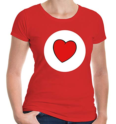 buXsbaum® Damen Girlie T-Shirt Plüschbärchen Herz Kostüm | XS, Rot (Rot Glücksbärchi Kostüm)