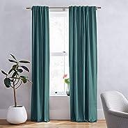 Elegant Velvet Darkening Blackout Curtains Thermal Insulated Grommet Drapes Navy Blue 1902-13-9-260x140 cm