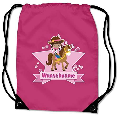 l mit Cowgirl und Name für Jungen und Mädchen personalisierbar personalisiert mit Namen Sportbeutel für Schule Sport Sporttasche Fuchsia ()