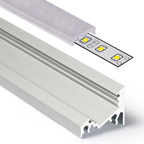 2m Aluprofil CORNER (CO) Ecke 2 Meter Aluminium Profil-Leiste eloxiert für LED Streifen - Set inkl Abdeckung-Schiene durchsichtig-klar mit Montage-Klammern und Endkappen (2 Meter transparent click)