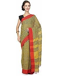 e8a222ecc16330 The Weave Traveller Handloom Women'S Pure Linen Gamcha/Checkered Saree With  Blouse (Multicolor)