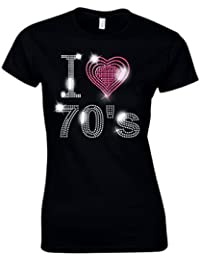 I Love 70s Seventies Ladies Fitted T Shirt - Rhinestud Design - Rock and Roll - Disco - Fancy Dress - (Size 8 To 16)