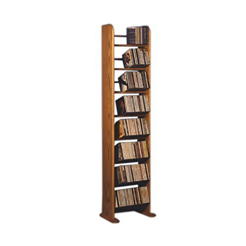 Oak Finish Media (Cdracks Media Furniture Solid Oak 8 Row Dowel Tower CD Rack Capacity 208 CD's Honey Finish by CD Racks)