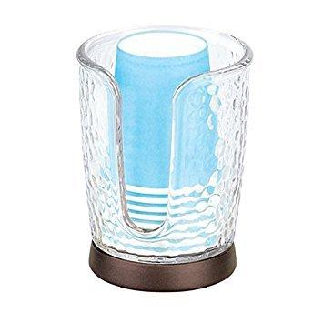 mDesign Dispensador de vasos – Soporte para vasos fabricado en plástico con detalles en bronce – Práctico sujetavasos con base antideslizante – 8 vasos desechables incluidos – transparente/bronce