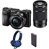 Sony Alpha ILCE-6000Y 24.3MP Digital SLR Camera (Black) + 16-50mm Lens + 55-210mm Lens with MDR-XB550AP Headphones and Power Bank (CP-VB10)