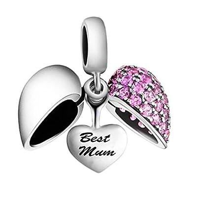 Best Mum Heart Charm Bead Crystal - 925 Sterling silver - fits Pandora, Biagi & Troll bracelets