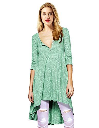 Yidarton Femme Chemise 3/4 Manches Longue Tunique Mini Robe Col Boutonné T-Shirt Tops Irrégulière Blouse Vert