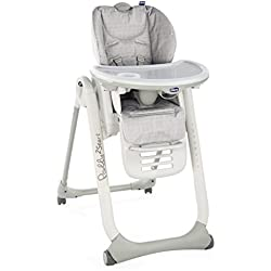 Chicco Chaise Haute Bébé Polly 2 Start - 4 Roues Happy Silver