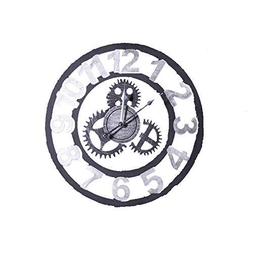 BGGZXX Retro Reloj de Pared del Engranaje Viento Industrial Montado en la Pared, Adecuado para Sala Habitación Creativo Mudo,Silver,D49.5cmthick1.5cm