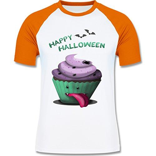 Halloween - Halloween treats - zweifarbiges Baseballshirt für Männer Weiß/Orange