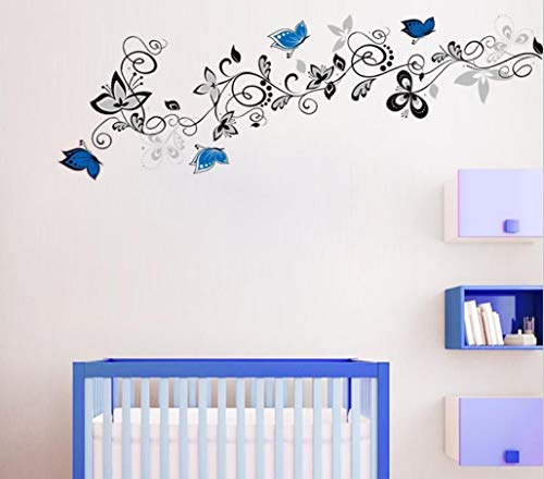 Blue Elegant Flower Vine Wall Stickers Export Europe And America Wall Stickers 46X134Cm ()