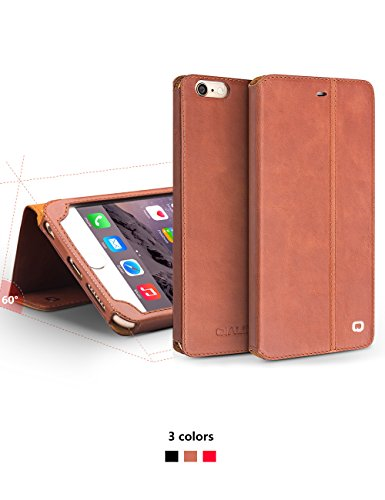 iPhone 6/6S/+ Plus Étui avec support, étui à rabat ultra fin en cuir véritable Housse de protection, qialino Étui ultra-fin pour téléphone, 11,9 cm/14 cm Protection d'Apple Cellule, Cuir, iphone6 plus iphone6s Brown