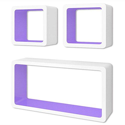 vidaXL 3 Etagères cubes murales en MDF Blanc-Violet Stockage rangement pour DVD/Livres