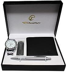 Idea Regalo - Bellos - Cofanetto regalo composto da orologio da uomo, torcia a LED, portafogli e penna
