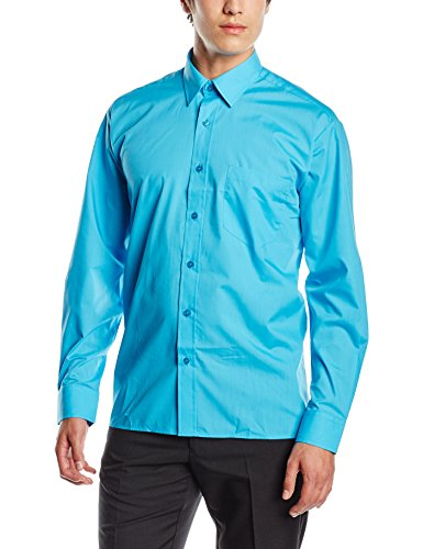 Premier Herren Businesshemd Poplin Long Sleeve Shirt Turquoise