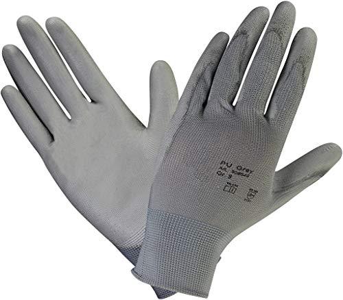 10 PAAR - Profi Arbeits-handschuhe Feinstrick Handschuh mit Soft-PU Beschichtung für Mechaniker Abbruch Renovierung Montage - Grau, Größe: ()