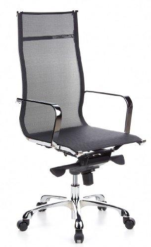 hjh OFFICE 660930 Bürostuhl Chefsessel EMILIA Netzstoff schwarz chrom, design Klassiker, hochwertige Verarbeitung, hohe Rückenlehne aus Netzstoff, Schreibtischstuhl ergonomisch, Drehstuhl, XXL Chefsessel