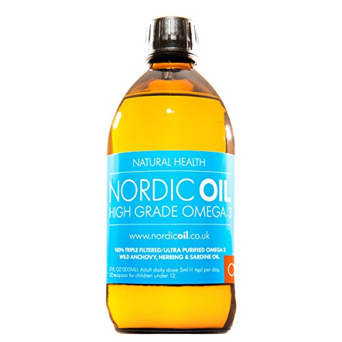 Nordic Oil High Strength 500ml Omega 3 Fish Oil. Lemon Flavoured and 3rd Party Tested