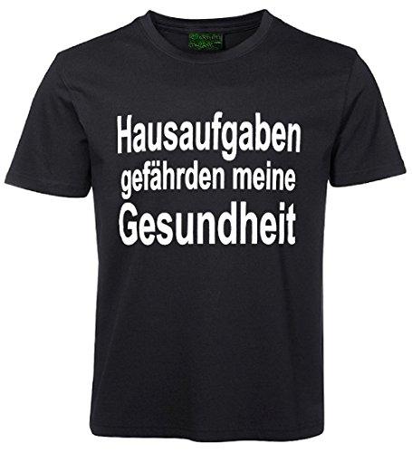 Kinder Sprüche T-Shirt Hausaufgaben... Schwarz Größe 140 (Hausaufgaben-kinder-t-shirt)