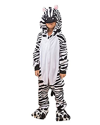 Kinder Pyjama Schlafanzug Overall Tierkostüme Zebra Kostüm für Halloween Karneval Fasching Zebra