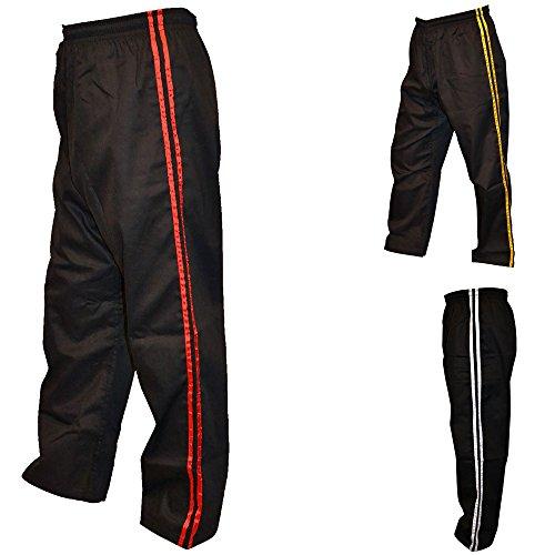 TurnerMAX Karate Hosen Erwachsenen Kampfsporthose, Polycotton (Schwarz mit rot Streifen, 180 cm)
