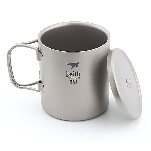 Keith Titanium Double-Wall Mug Camping Mug with Lid Ourdoor Folding Handle Cup- Ti3352~300ml