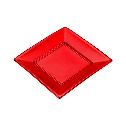 Platten Square Kunststoff Rot Metallic - 23 x 23 cm - 4 Einheiten (Kunststoff-square-platten)
