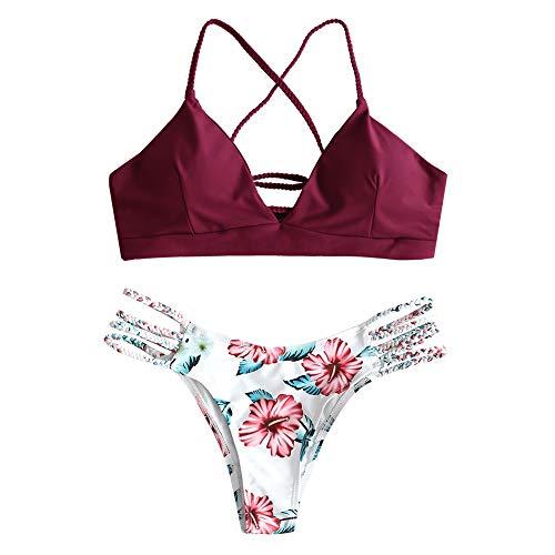 ZAFUL zweiteilig Bikini-Set mit verstellbarem BH Push-Up Rücken, Triangle Bustle Badehose mit Blummenmuster (Weinrot, M) -