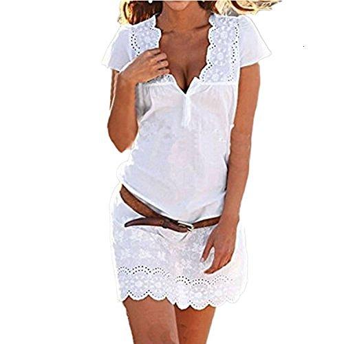 SUNNOW® Elegant Damen Sommerkleid Kurzarm Strandkleid Casual Spitze Blumen Rock Partykleid Tunika Frauen T-Shirt Blusen (M, 1 Weiß)