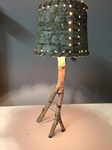 Stehlampe Birke natur, ca. 45 cm hoch, Kabel unsichtbar geführt (Kabel Gemütlich)