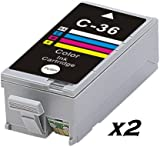 2x COMPATIBLE CANON CLI-36 COLOUR INK CARTRIDGES FOR PIXMA IP100, IP110, MINI 260,320. CLI36C, CLI-36C