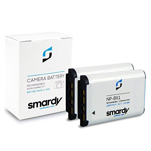smardy 2X Bateria Accu NP-BX1 para Sony Cyber-Shot DSC-H400 HX50 HX60 HX80 HX90 HX300 HX400 DSC-RX1 RX100 DSC-WX300 WX350 WX500 Sony AS15 AS20 AS30V AS100V AS200V AZ1VR X1000V CX240E CX405 HDR-GW66E
