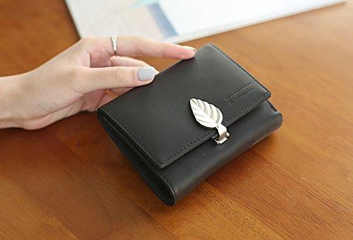 CLOTHES- Borsa della borsa della borsa della moneta del raccoglitore delle signore Borsa della moneta della borsa della moneta della borsa Versione coreana della bella personalità semplice Mini Foglie Nero