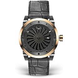 ZINVO Blade Fusion - Reloj de pulsera para hombre con movimiento automático, correa de piel negra y carcasa de acero inoxidable