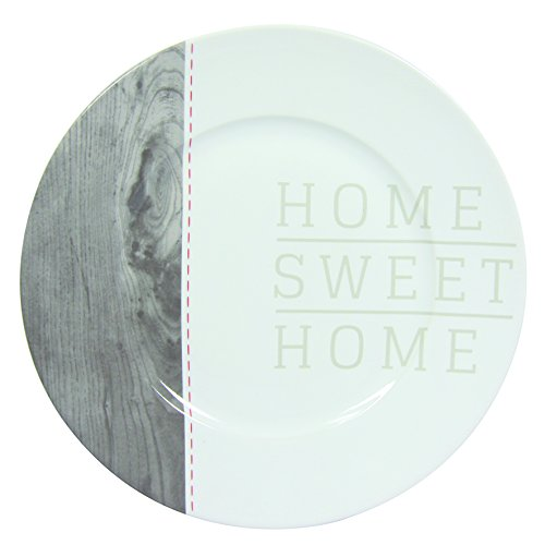 Novastyl - 8010366 - Home Sweet Home - Assiettes - Gris/Anthracite - Lot de 6