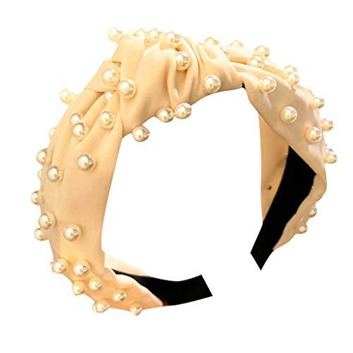 Honestyi Frauen Kristall Stirnband Stoff Haarband Kopf Wickeln Zubehör 4,23-16 breitkrempige Nägel Perle geknotet Gesicht Haarschmuck süß Druck Haar Tiara weiblich Perlen beige